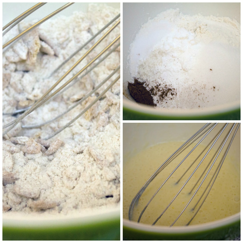 Collage showing the pancake batter making process for Cinnamon Toast Crunch Pancakes including whisking dry ingredients in bowl, adding and whisking in crushed Cinnamon Toast Crunch cereal, and whisking together wet ingredients in a bowl