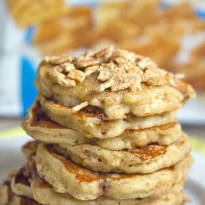 Cinnamon Toast Crunch Pancakes -- Because breakfast is always better with pancakes, but who could ever turn down Cinnamon Toast Crunch cereal?| wearenotmartha.com