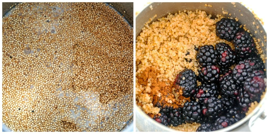 Collage showing process for making cinnamon and blackberry breakfast quinoa, including one photo of quinoa cooking in milk and water and one photo of quinoa cooked with cinnamon and blackberries on top