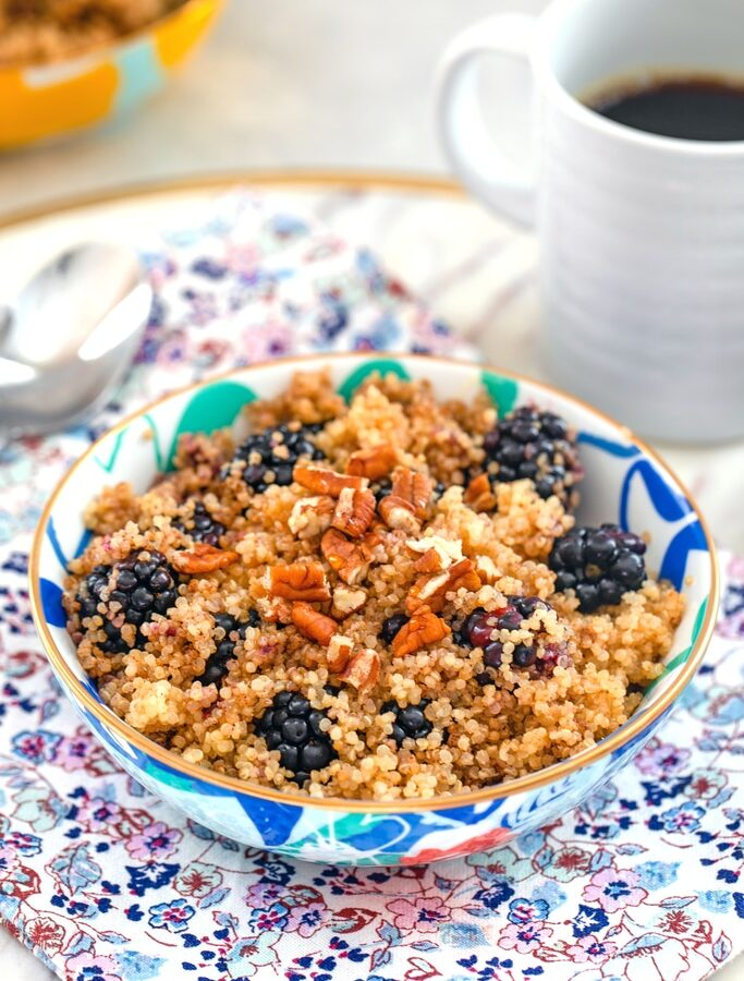 Cinnamon and Blackberry Breakfast Quinoa -- Quinoa for breakfast? It's not as weird as you think! This Cinnamon and Blackberry Breakfast Quinoa will keep you full and satisfied all morning long. Not to mention, it's a delicious way to start your day | wearenotmartha.com