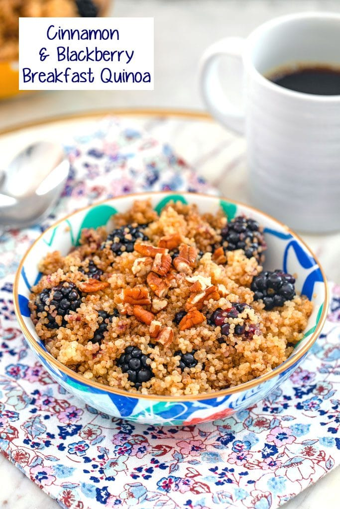 Head-on view of colorful bowl of cinnamon and blackberry breakfast quinoa topped with pecans on a flowered towel with cup of coffee and spoon in the background with recipe title at top of image