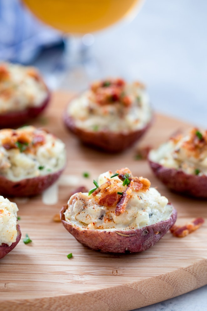 Clam Chowder Potato Skins – Whether you're rooting for your home team or just in it for the food, these Clam Chowder Potato Skins are the perfect game day appetizer. And if you have any leftovers, they're easy to repurpose the next day | wearenotmartha.com