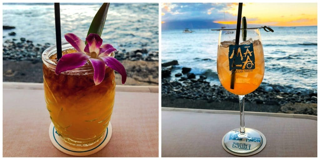 A Mai Tai and rosé sangria with a beautiful view at Mala Ocean Tavern in Maui