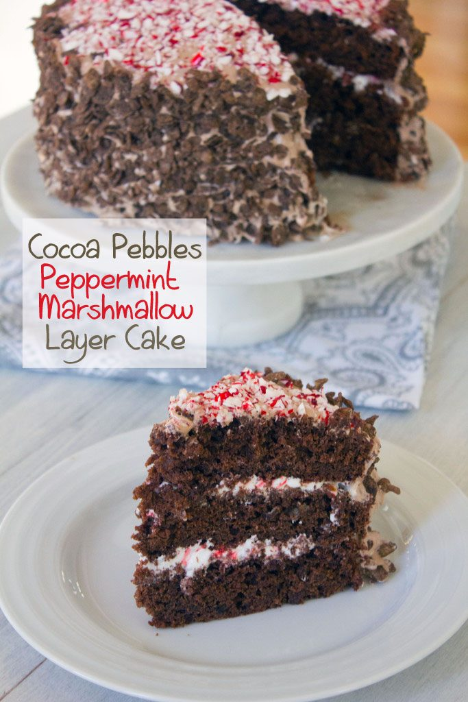 Cocoa Pebbles Peppermint Marshmallow Layer Cake | wearenotmartha.com