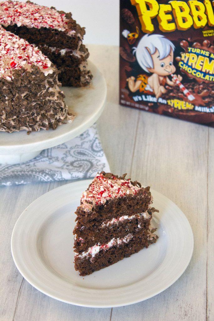 Cocoa Pebbles Peppermint Marshmallow Layer Cake | wearenotmartha.com