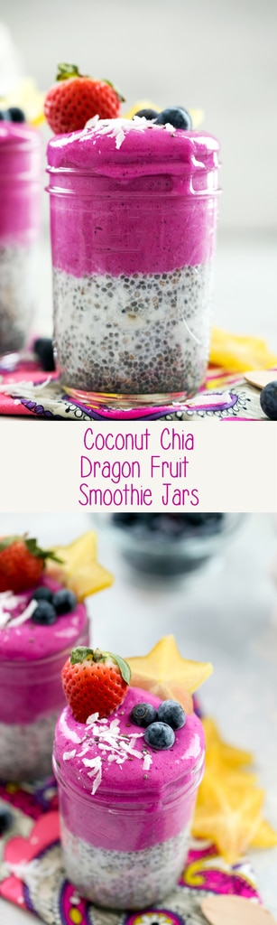 Coconut Chia Dragon Fruit Smoothie Jars -- These 5-ingredient smoothie jars with coconut chia pudding and a banana dragon fruit blend will brighten up your morning with their pretty pink hue and keep you full and satisfied for hours | wearenotmartha.com