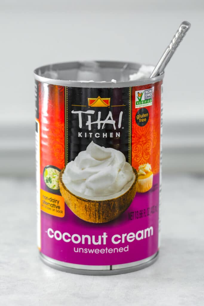 Head-on view of a can of coconut cream