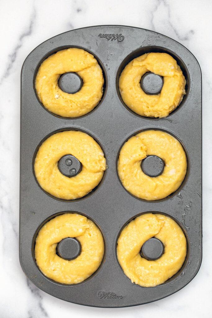 Batter in doughnut pan
