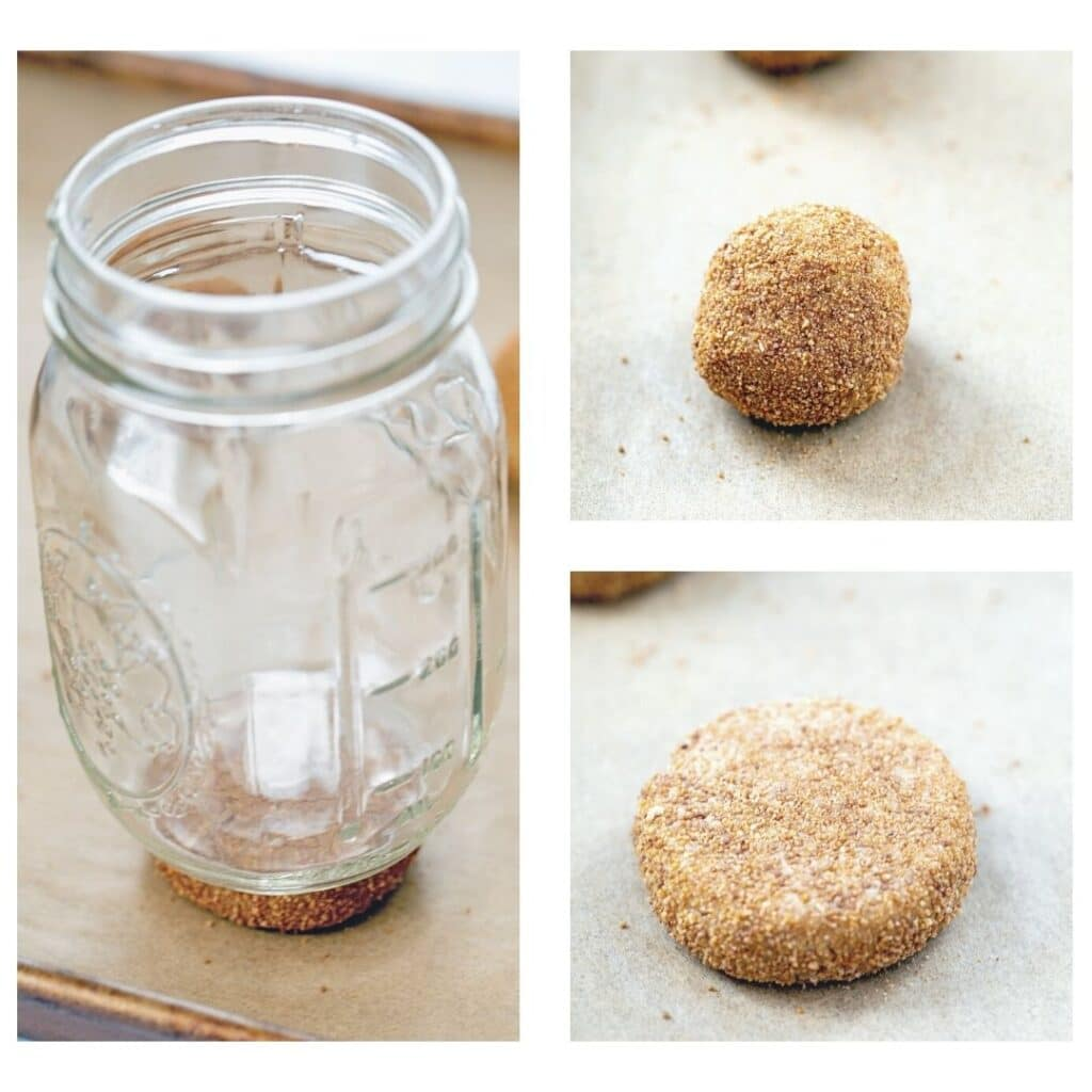Collage showing cookie dough balls on baking sheet, balls being pressed by mason jar, and flattened cookie dough ball