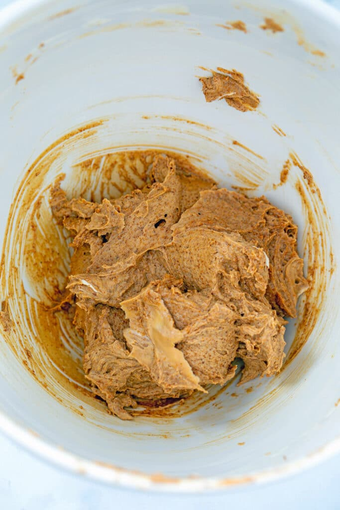Butter and coconut sugar beaten together in mixing bowl