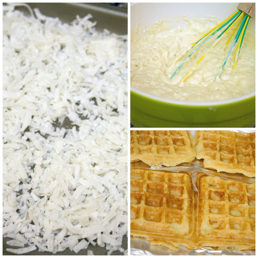 Collage showing making of coconut waffles with vanilla coconut glaze, including toasted coconut on baking sheet, waffle batter, and waffles on baking sheet