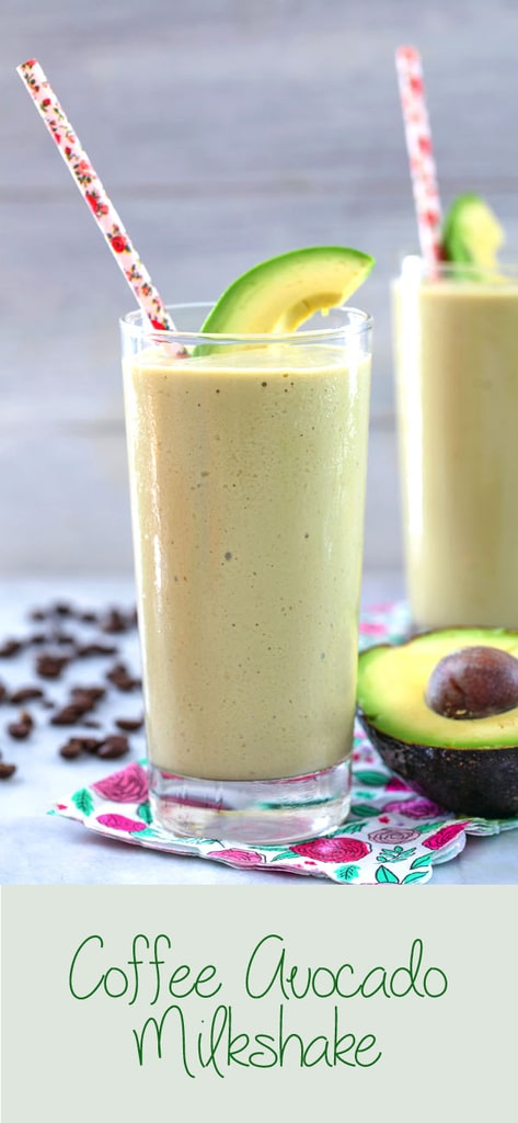 Coffee Avocado Milkshake -- You might think using avocado in a milkshake sounds strange, but this coffee avocado milkshake is the creamiest, most delicious way to get your morning caffeine boost | wearenotmartha.com #coffee #avocado #milkshake