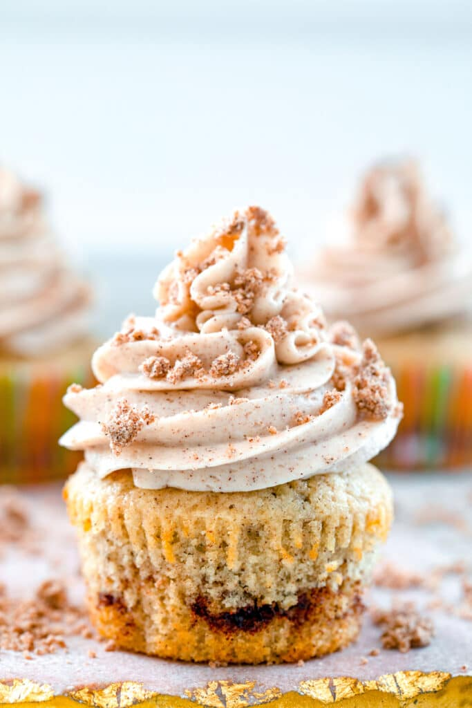 Head-on close-up view of a coffee cake cupcake with cinnamon swirl, cinnamon frosting and crumb topping