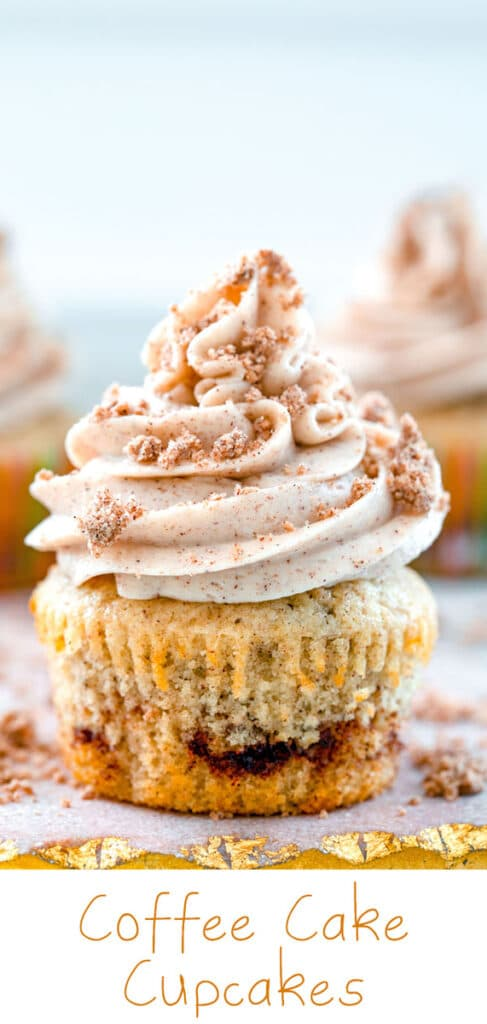 Coffee Cake Cupcakes -- There's never a bad time for a slice of coffee cake and the same is also true for these Coffee Cake Cupcakes. With a sweet cinnamon swirl, lots of cinnamon frosting, and a crumble topping, you can't be blamed if you eat one of these cupcakes for breakfast! #coffeecake #cupcakes #cinnamon #frosting
