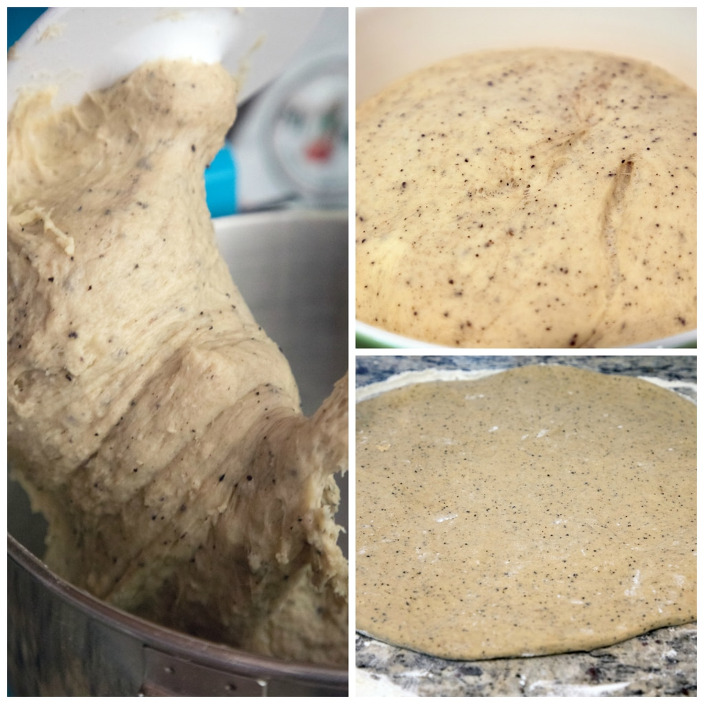 collage showing donut dough being kneaded in mixer, rising in a bowl, and being rolled out on floured counter