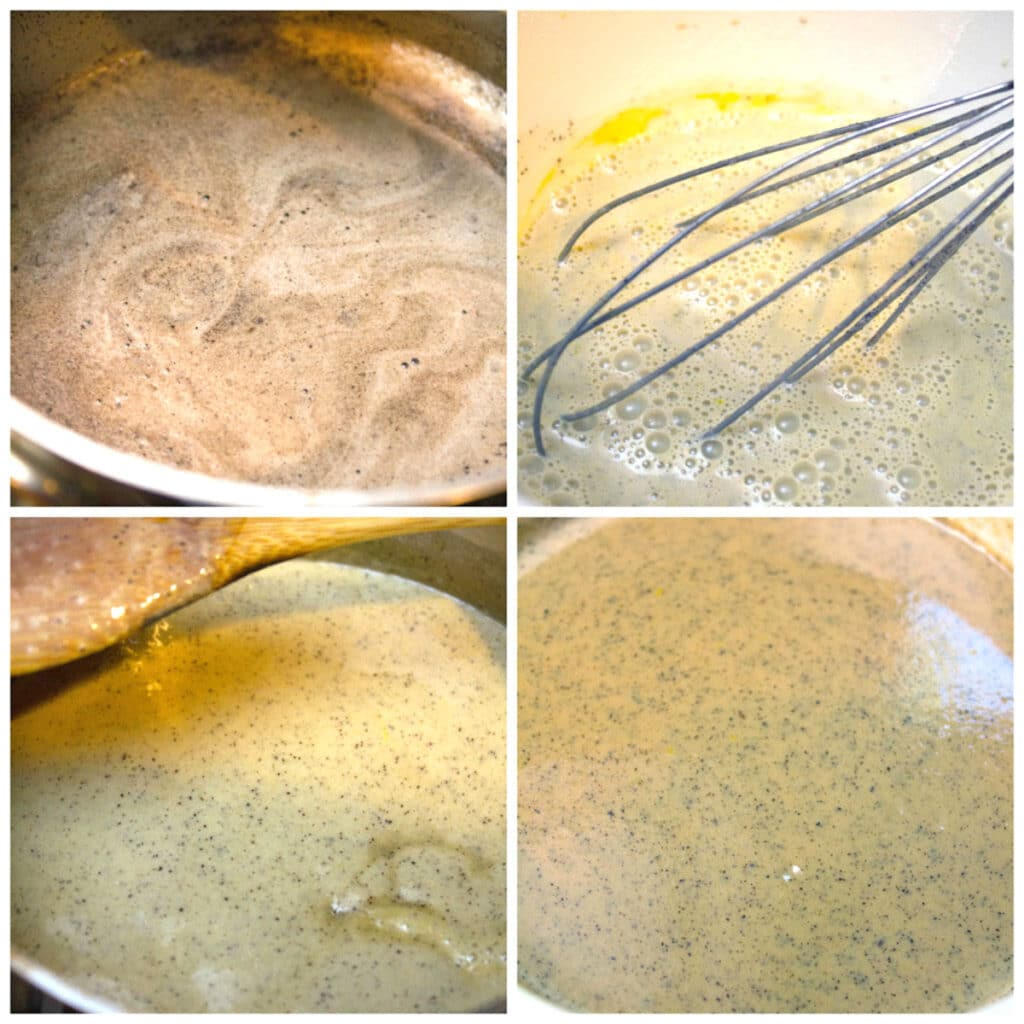 Collage showing process for making coffee ice cream, including milk/cream/espresso mixture heating up, mixture tempering eggs, mixture turning into custard, and ice cream mixture strained into a bowl