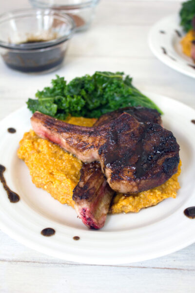 Coffee Rubbed Lamb Chops with Pumpkin Cinnamon Polenta -- A weekend or weeknight meal that's way easier than it looks | wearenotmartha.com