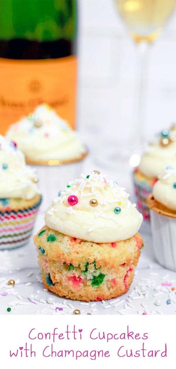 Confetti Cupcakes with Champagne Custard
