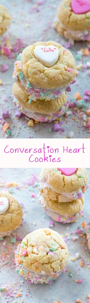 Conversation Heart Cookies with Marshmallow Fluff -- Put those conversation hearts to good use this Valentine's Day by baking Conversation Heart Cookies. Marshmallow fluff is sandwiched between two colorful candy confetti-packed sugar cookies and will instantly have you falling in love | wearenotmartha.com #valentinesday #conversationhearts #cookies
