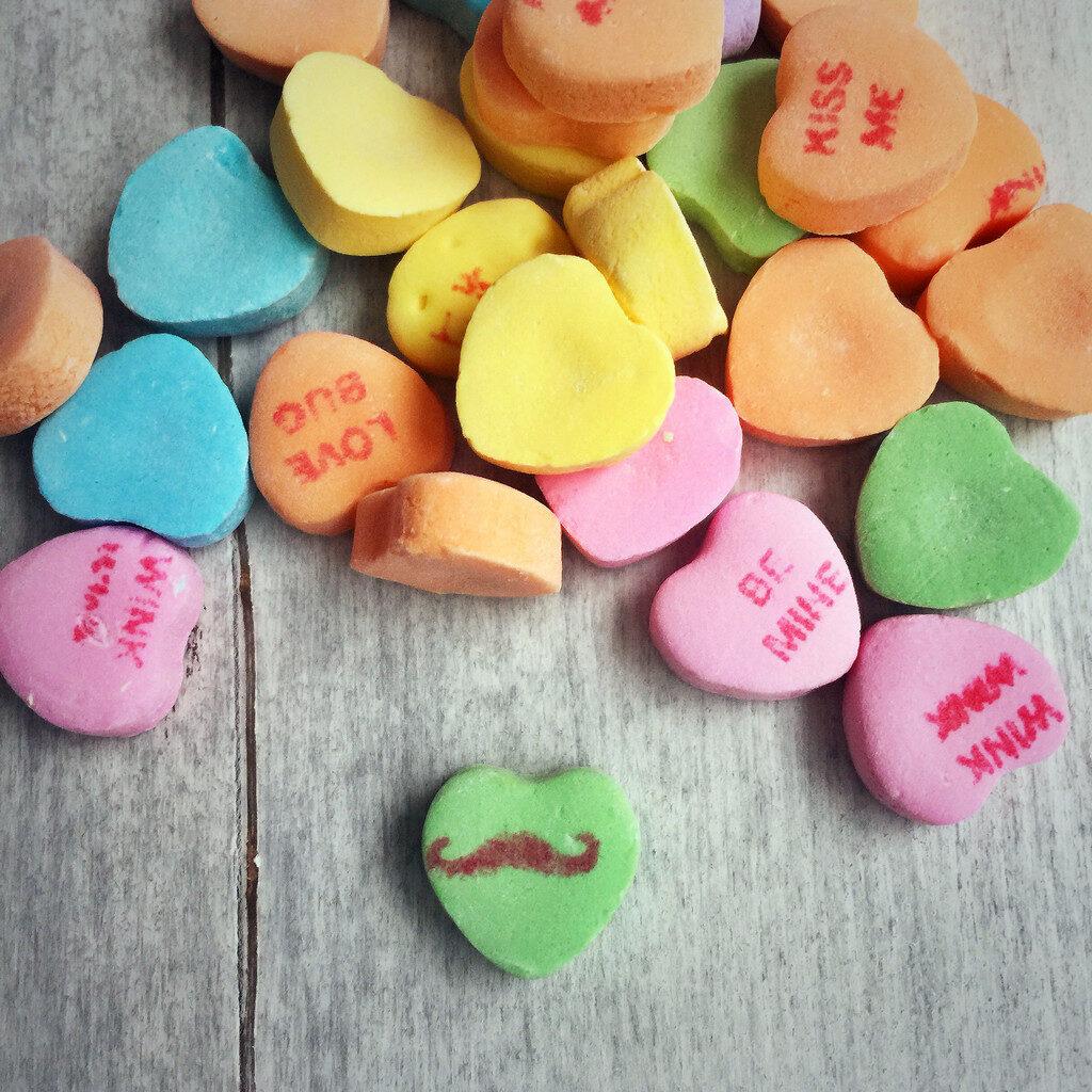 Conversation Hearts -- Valentine's Day Love   wearenotmartha.com