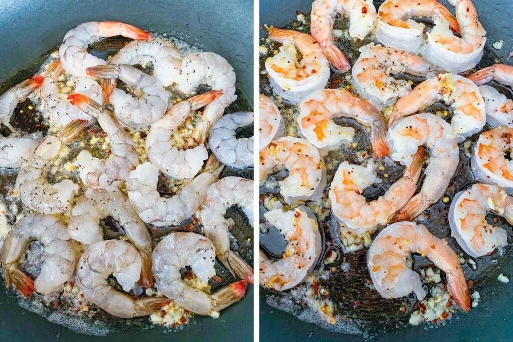 Collage with one photo showing shrimp just added to skillet with garlic and one photo showing shrimp cooked and pink in skillet