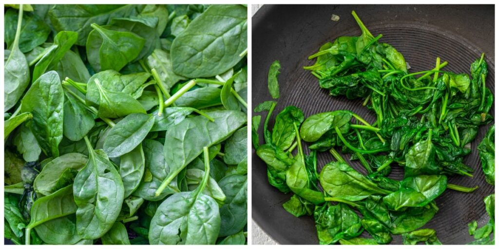 Collage showing spinach in skillet and spinach cooked down