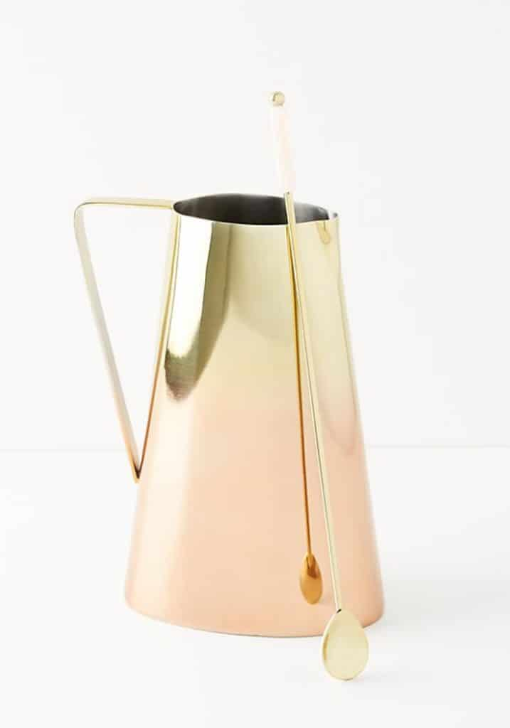 Head-on view of beautiful copper glam pitcher