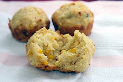 Fresh Corn Muffins with Basil