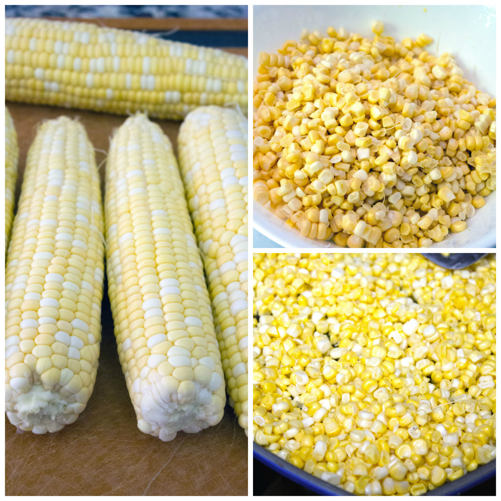 Collage showing corn on the cob, corn kernels in bowl, and corn kernels in grill pan