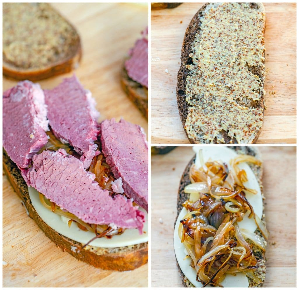 Collage showing process for making corned beef melts, including rye bread spread with mustard, bread topped with cheese and onions, and bread with corned beef layered on top