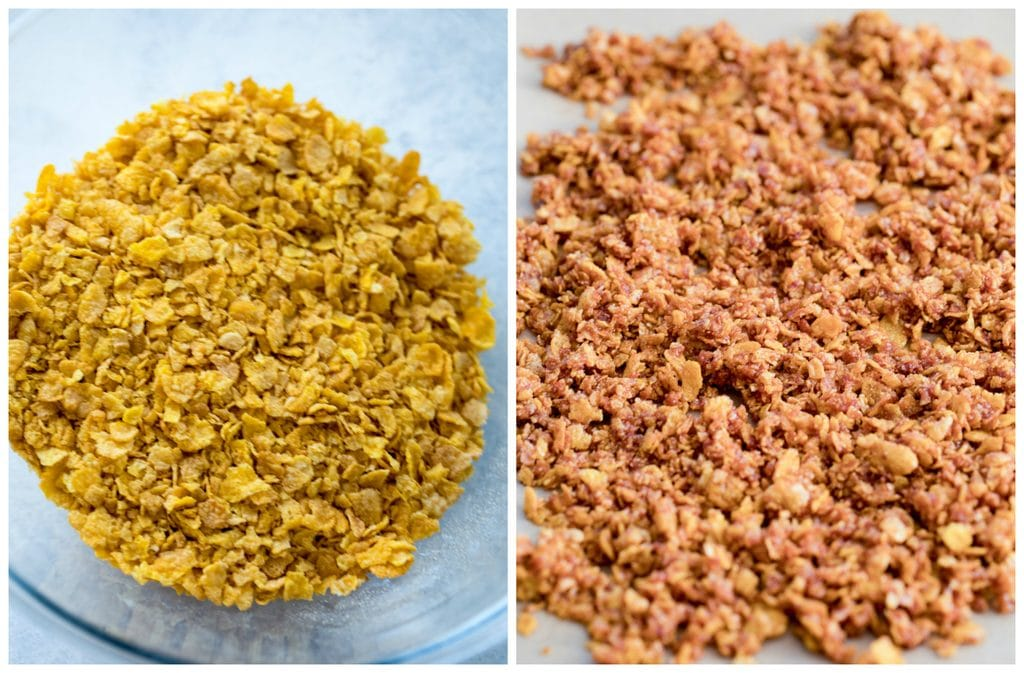 A collage showing a bowl of crushed Cornflakes and Cornflake Crunch baked on a parchment paper lined baking sheet