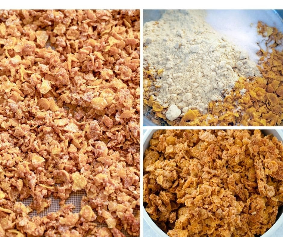 Collage showing process for making cornflake crunch, including cornflake mixture in bowl, mixture spread on baking sheet, and finished cornflake crunch in bowl