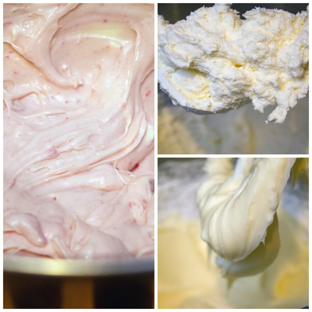 Collage showing process for making cranberry vanilla cream cheese frosting, including butter being beaten in mixer, cream cheese and powdered sugar being beaten with butter and mixer, and cream cheese frosting in bowl with cranberry sauce mixed in
