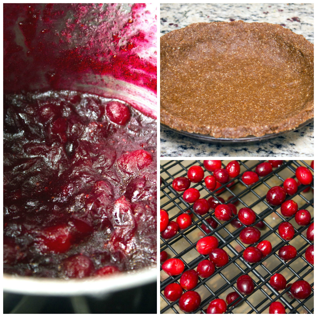 Collage showing process for making cranberry lime pie, including cranberry sauce cooking in saucepan, gingersnap pecan crus in pie plate, and cranberries drying on rack