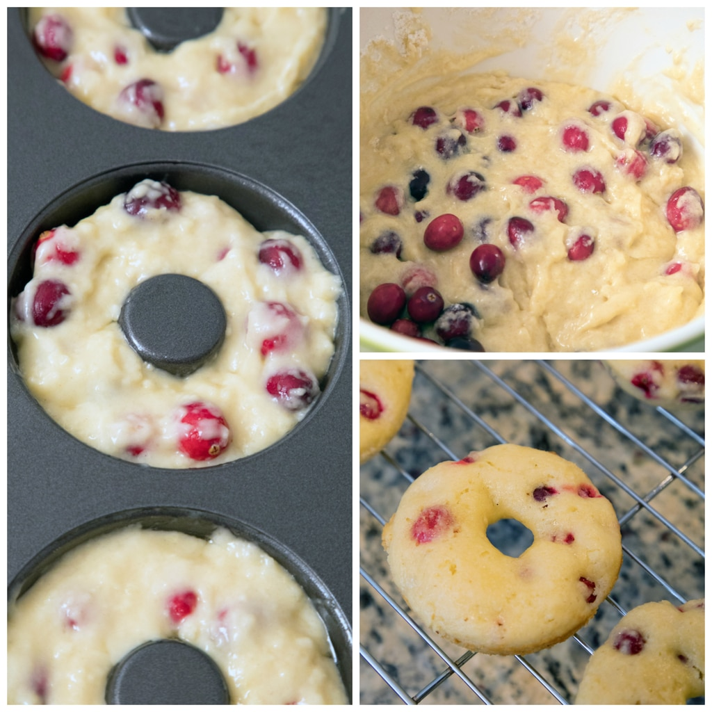 Collage showing process of making cranberry matcha donuts, including batter with cranberries in a bowl, batter in the donut tin, and baked donuts just out of the oven on a baking rack