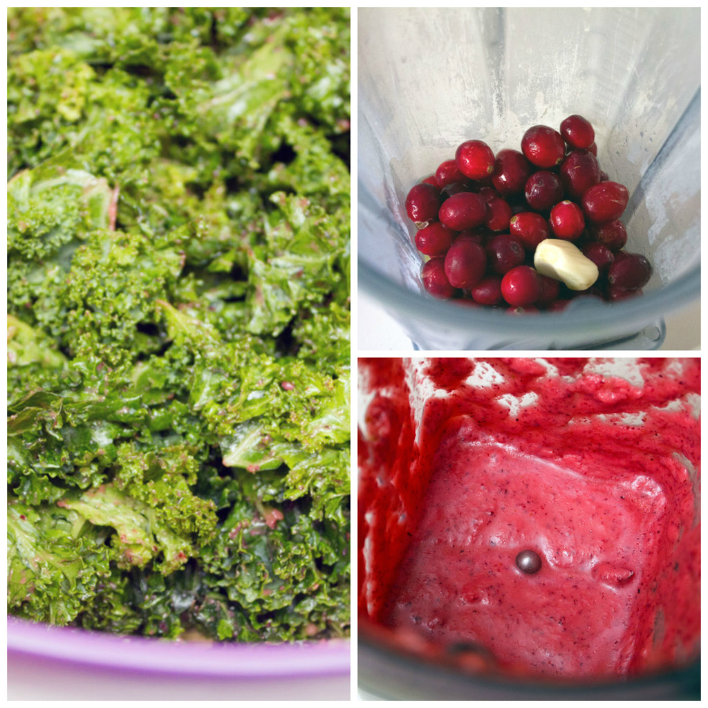 Collage showing process for making fall cobb salad, including cranberries and garlic in a blender, cranberry dressing blended in blender, and kale massaged with cranberry dressing bowl
