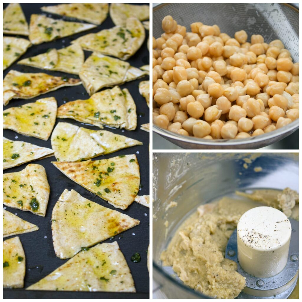 Collage showing cranberry hummus and pita chip making process, including chick peas in strainer, chick peas pureed in food processor, and pita bread triangles with olive oil and sage on baking sheet