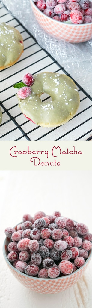 Cranberry Matcha Donuts -- These donuts make the perfect addition to the holiday dessert or brunch table. But they're actually healthier than the average donut and packed with antioxidants from the cranberries and matcha green tea powder | wearenotmartha.com