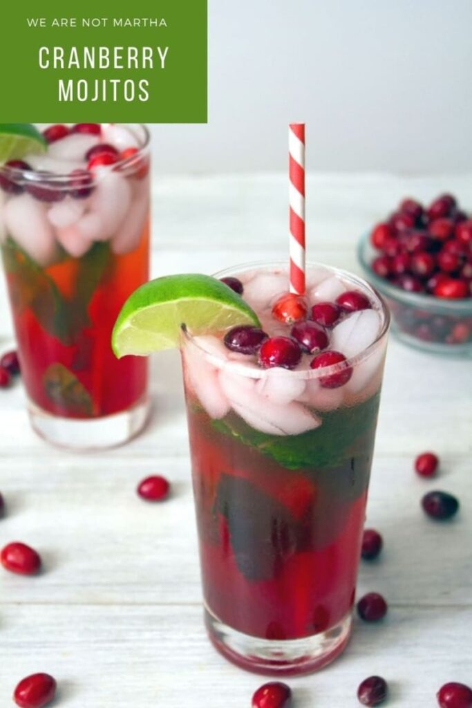 These Cranberry Mojitos are the best Christmas cocktails! They're red and green and packed with festive flavor! | wearenotmartha.com #mojitos #cranberry #cranberrycocktails #cranberrydrinks #christmascocktails