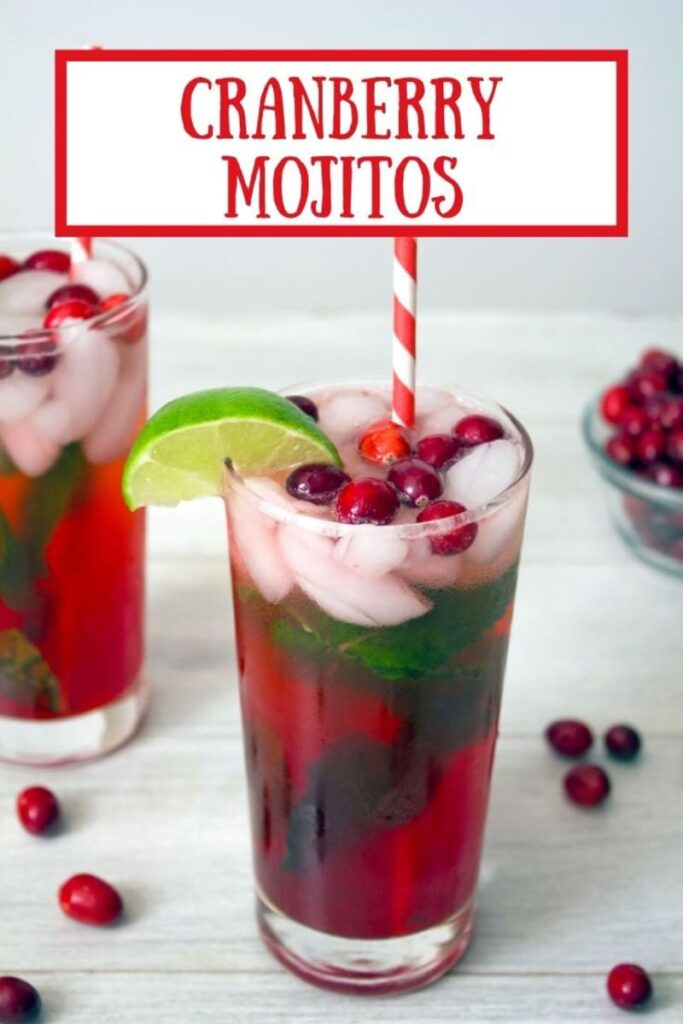 Looking for the perfect Christmas cocktail? These Cranberry Mojitos are perfect for all of your holiday parties and dinners!   wearenotmatha.com #cranberrydrinks #cranberrycocktails #christmascocktails #cranberry #cocktails #mojitos