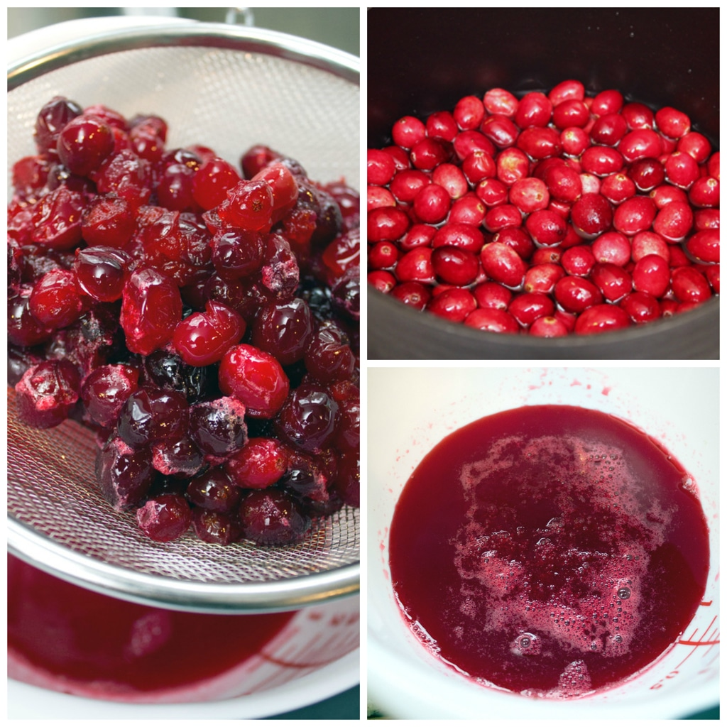 Collage showing process for making cranberry simple syrup, including cranberries and water in saucepan, cooked cranberries in strainer over bowl, and juice strained from cranberries