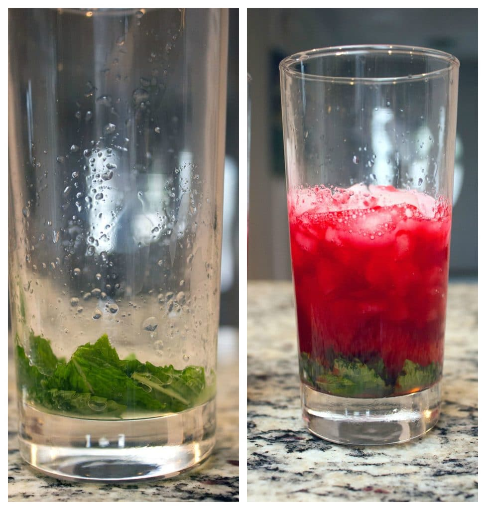 Collage showing cranberry mojitos making process, including glass with mint on the bottom of it and glass with mint on the bottom of it, rum, lime juice, and cranberry simple syrup