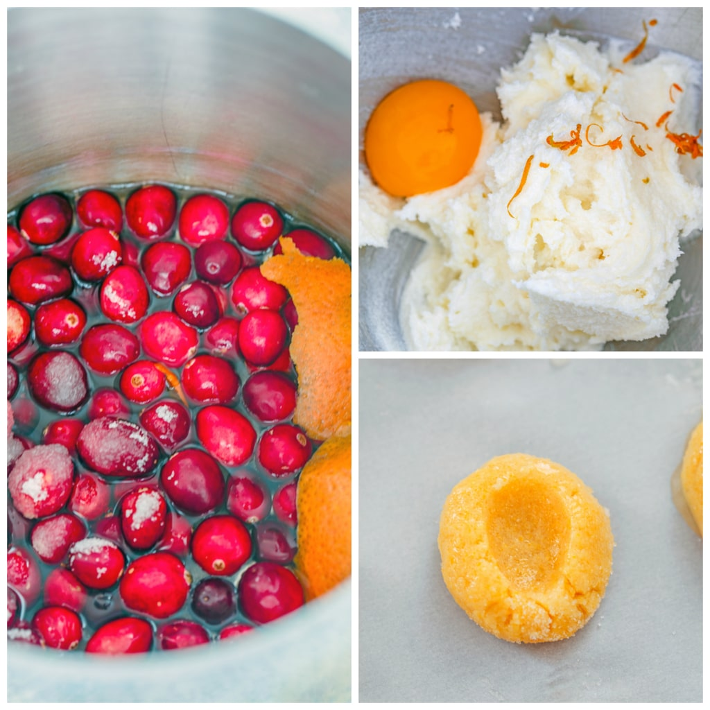 Collage showing process for making cranberry thumbprint cookies, including cranberries, water, and orange peel in saucepan; butter, sugar, egg yolk, and orange zest in mixer bowl; and cookie dough with thumbprint indentation on baking sheet