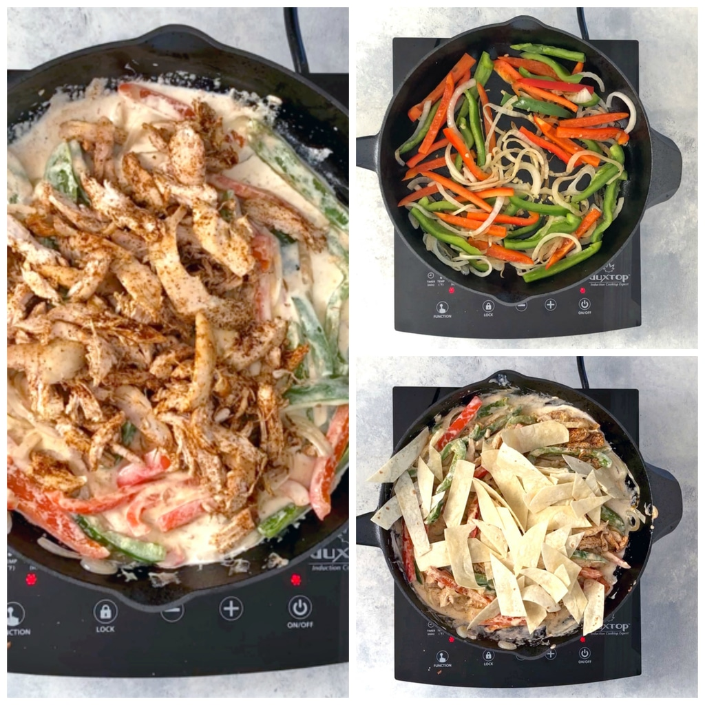 Collage showing process for making creamy fajita skillet, including peppers and onions in skillet, skillet with chicken in it, and skillet with tortilla strips in it