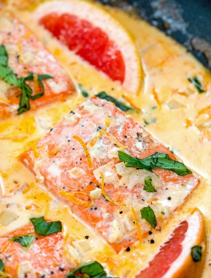 Creamy Grapefruit Salmon -- This Creamy Grapefruit Salmon is an incredibly easy one pan recipe perfect for a weeknight dinner. It's a little bit tart, a little bit sweet, and full of creamy flavor | wearenotmartha.com