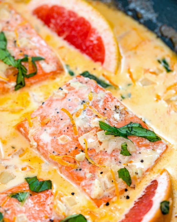 Creamy Grapefruit Salmon -- This Creamy Grapefruit Salmon is an incredibly easy one pan recipe perfect for a weeknight dinner. It's a little bit tart, a little bit sweet, and full of creamy flavor | wearenotmartha.com #salmon #grapefruit #onepan #weeknightdinner