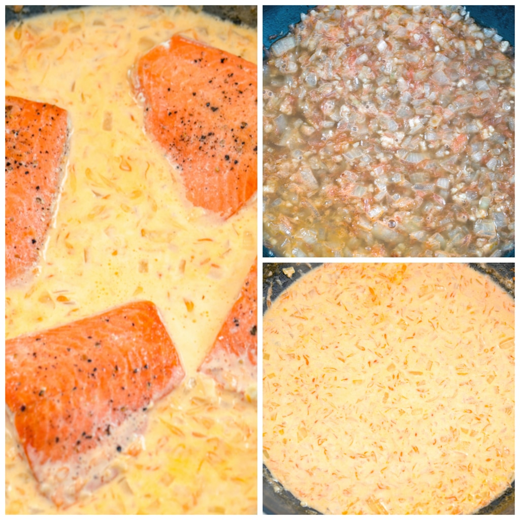 Collage showing process for making grapefruit cream sauce for creamy grapefruit salmon, including onions and garlic cooking, grapefruit juice and cream added to skillet, and salmon filets added to skillet