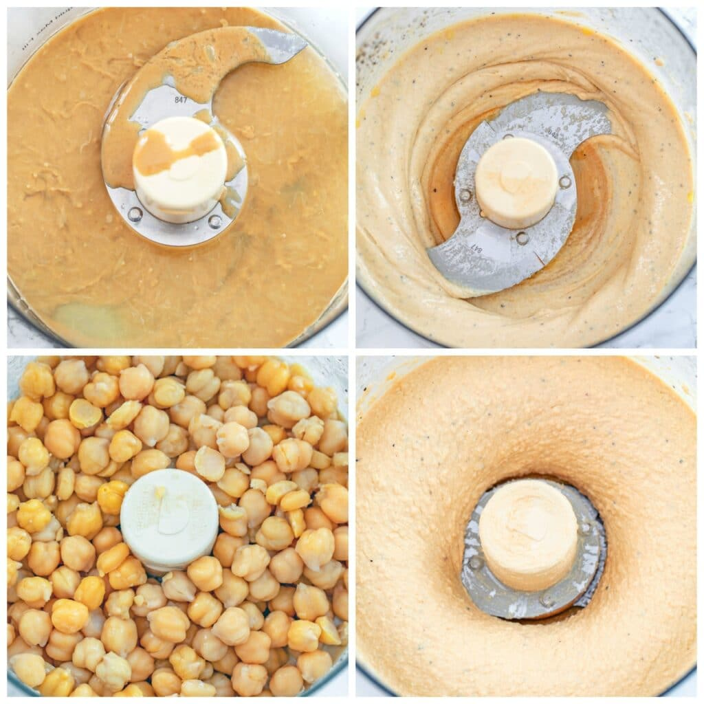 Collage showing step-by-step process for making hummus breakfast bowl, including tahini and lemon juice in food processor, whipped with olive oil, chickpeas added, and hummus all whipped together.
