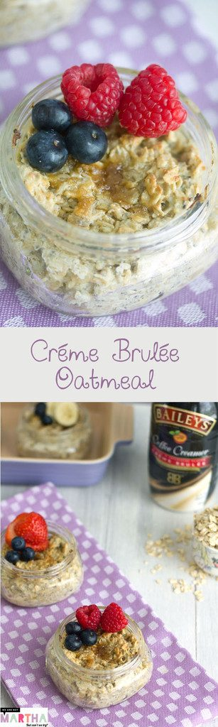 Créme Brulée Oatmeal -- The perfect breakfast to prepare ahead and bring to work! | wearenotmartha.com