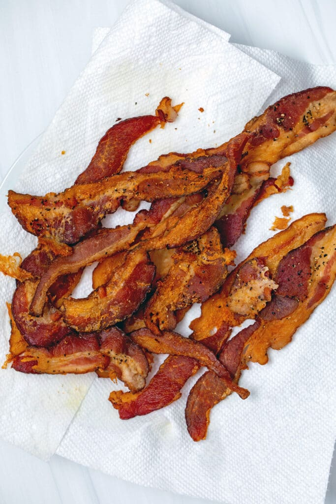 Crispy bacon on a plate